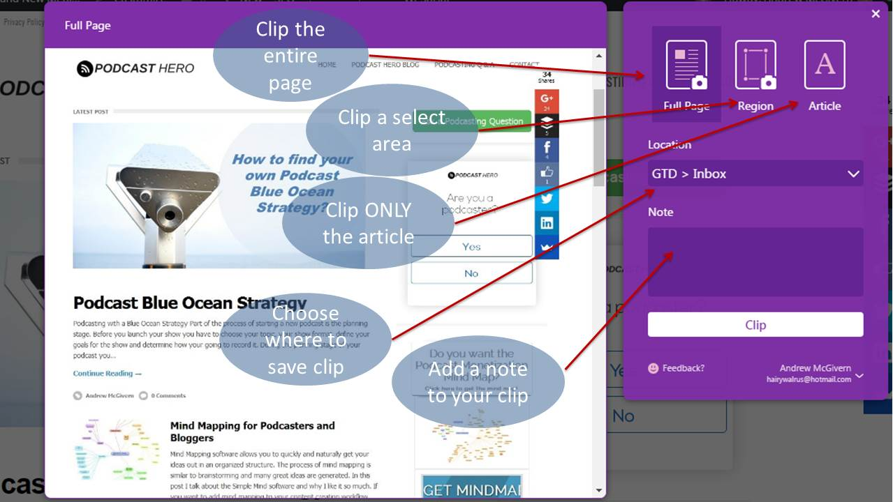 OneNote web clipper | Podcast Hero ™ - High Converting Podcasts