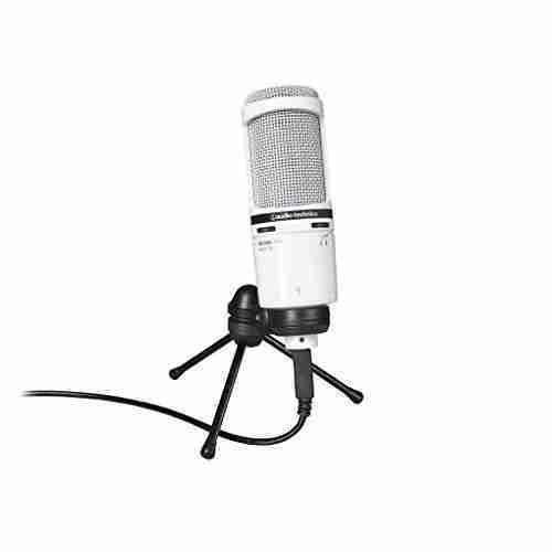 audio technica at2020usb cardioid condenser usb microphone white. Black Bedroom Furniture Sets. Home Design Ideas