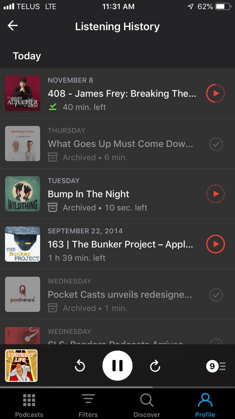 Pocket Casts now features your Listening History