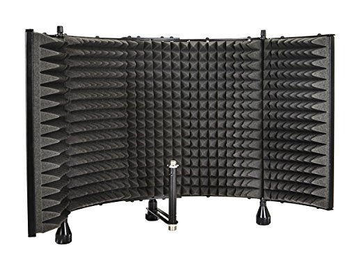 Monoprice Microphone Isolation Shield – Black – Foldable with 3/8 inch Mic Threaded Mount, High Density Absorbing Foam Front And Vented Metal Back Plate – Stage Right